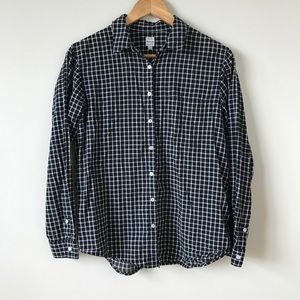 Madewell Plaid Button Up Black White Long Sleeve